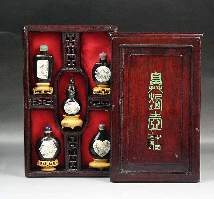 Set Of Five Chinese Horn Snuff Bottles