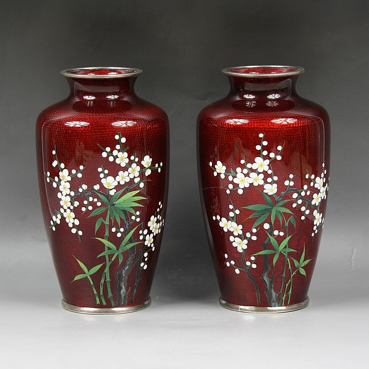 Pair Japanese Silver Ando Cloisonne Vases