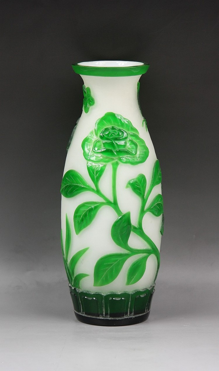 An Overlay Peking Glass Vase