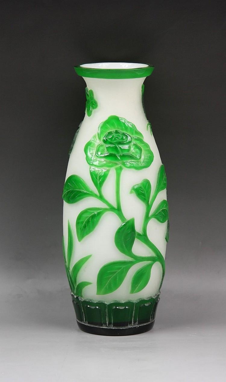 An Overlay Peking Glass Vase