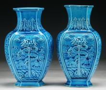 Pair Chinese Blue Glazed Porcelain Vases