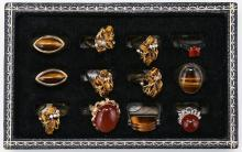Twelve (12) Agate & Tiger Eye Rings