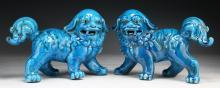 Pair Chinese Blue Glazed Porcelain Foo Dogs