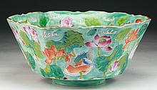 A Chinese Antique Famille Rose Hexagon Shaped Porcelain Bowl