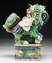 A Chinese Antique Famille Verte Porcelain Lion
