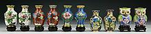 Ten (10) Chinese Miniature Cloisonne On Bronze Vases
