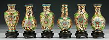 Six (6) Chinese Miniature Cloisonne On Bronze Vases