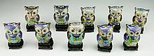 Ten (10) Chinese Miniature Cloisonne On Bronze Owls