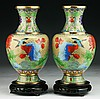 Pair Chinese Cloisonne On Bronze Vases
