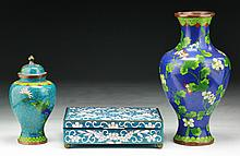 Three (3) Chinese Cloisonne Bronze Items