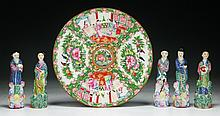 Six (6) Chinese Porcelain Figures & Rose Medallion Plate