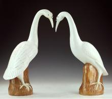 Pair Chinese White Glazed Porcelain Cranes