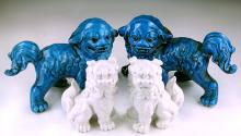 Two (2) Pairs Chinese Blue & White Glazed Porcelain Lions