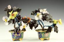Two (2) Precious Stone & Cloisonne Bonsai