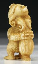 An Antique Japanese Carved Ivory Netsuke