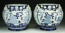 Pair Chinese Cobalt Blue & White Porcelain Jars