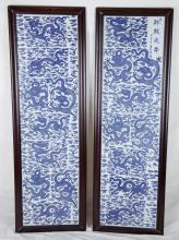 Pair Chinese Framed Blue & White Porcelain Plaques