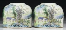 Pair Chinese Antique Famille Rose Water Droppers