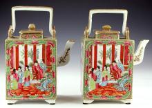 Pair Chinese Rose Medallion Porcelain Teapots