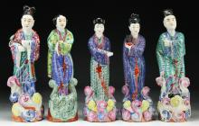 Five (5) Chinese Famille Rose Porcelain Figures