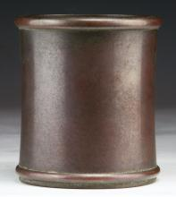A Chinese Antique Brass Brush Pot