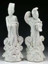 Two (2) Chinese Antique Blanc De Chine Porcelain Figures