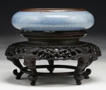 A Chinese Antique Blue Celadon Glazed Porcelain Water Washer