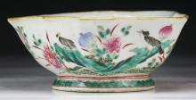 A Chinese Antique Famille Rose Pentagonal Porcelain Bowl