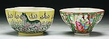 Two (2) Rose Medallion & Famille Verte Bowls