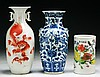 Three (3) Chinese Antique Porcelain Vases & Brush Pot