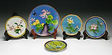 Five (5) Chinese Cloisonne Bronze Plates