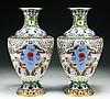 Pair Chinese Antique Cloisonne Bronze Vases