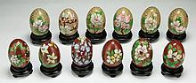 Twelve (12) Chinese Cloisonne Bronze Eggs