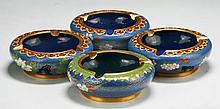 Four (4) Chinese Cloisonne Bronze Ash Trays