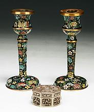 Three (3) Items: Pair of Cloisonne Candle Holders & Sliver Case