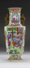 A Chinese Antique Hexagonal Rose Medallion Porcelain Vase