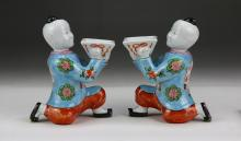 Pair Chinese Antique Famille Rose Porcelain Figures