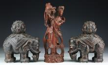 Three (3) Chinese Pottery Elephants & Wood Carved Figure