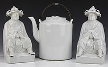 Three (3) Chinese White Glazed Porcelain Figures & Teapot