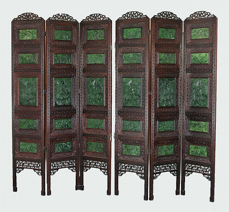 Pair Chinese Antique Big Spinach Jade Wood Screens