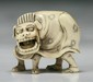 A Japanese Antique Carved Ivory Netsuke Shi-shi