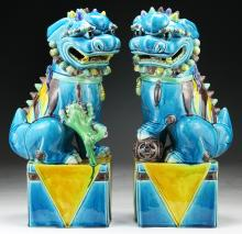 Pair Chinese Antique Blue Glazed Porcelain Lions
