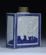 A Chinese Antique Blue & White Porcelain Square Vase