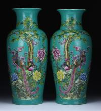 Pair Big Chinese Antique Porcelain Vases