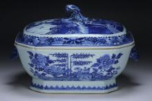 A Chinese Antique Blue & White Porcelain Lidded Tureen