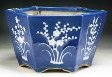 A Chinese Antique Blue & White Porcelain Hexagon Pot
