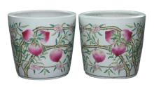 Pair Chinese Antique Famille Rose Porcelain Jars