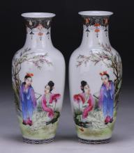 Pair Chinese Antique Famille Rose EGGSHELL Porcelain Vases