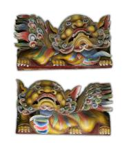 Pair Chinese Polychrome Wood Carved Lions