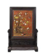 A Chinese Antique Applique Lacquer Table Screen